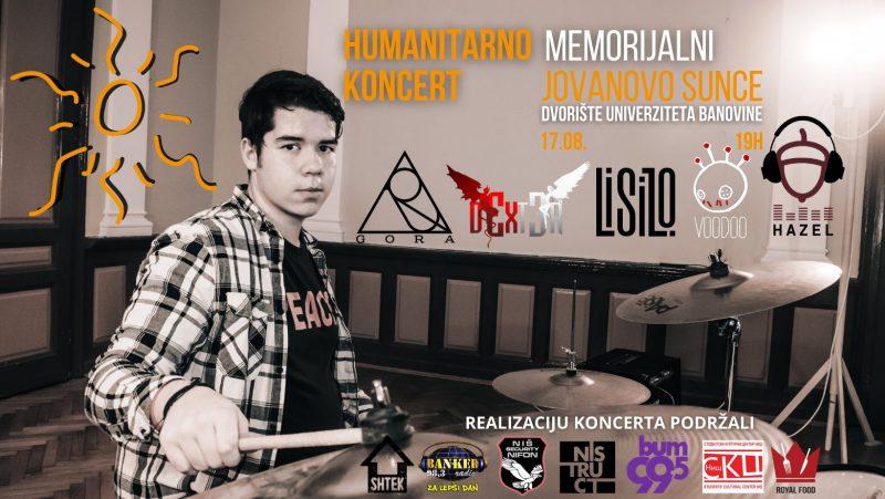 """Memorijalno-humanitarni koncert """"Jovanovo sunce"""" 17.avgusta u Dvorištu Univerziteta u Nišu"""